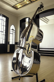 A double bass made out of aluminium.