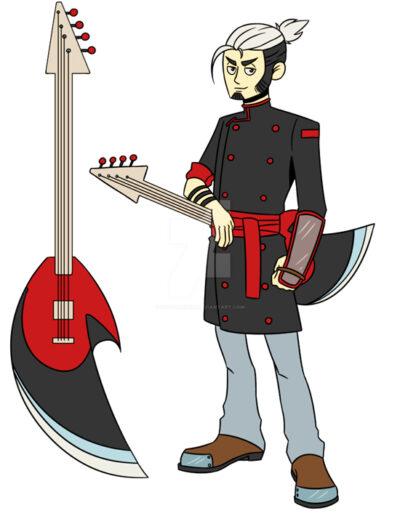 A man with a bass guitar.