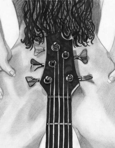 Sexy image of a woman and a bass guitar.