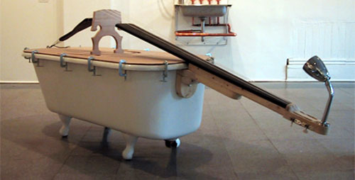 A double bass made out of a bath.