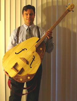 A bass guitar that looks like a cello.