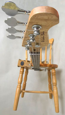 A chair like a bass guitar.