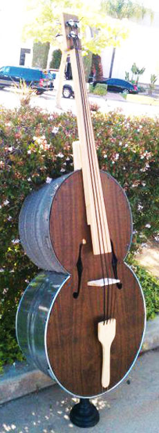 a bass made out of a chest.