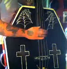 A coffin double bass.
