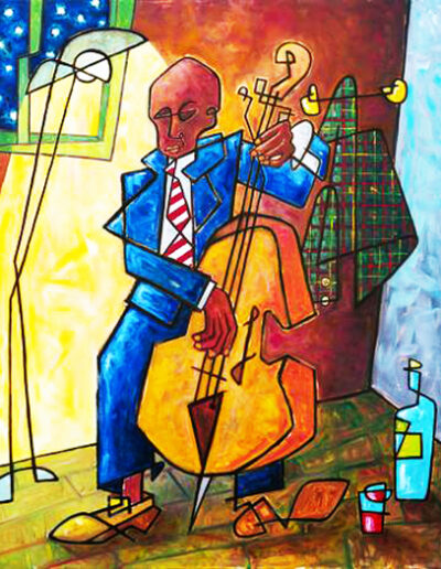 Funny drawing of a double bass player.