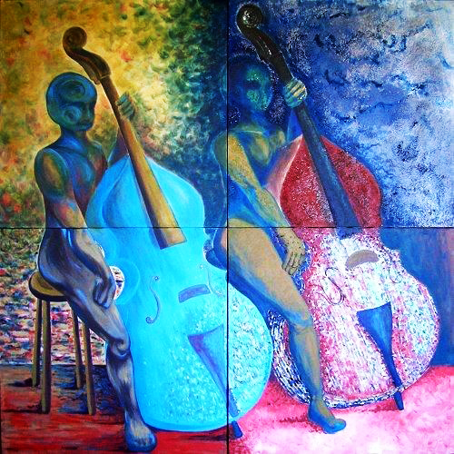 Painting of two double bass players.