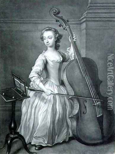 Classis image of a female double bass player.