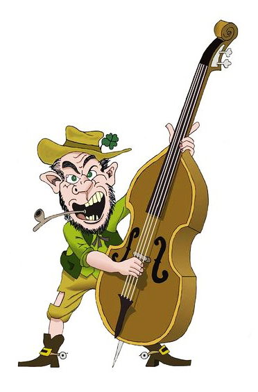 Angry man with a double bass.
