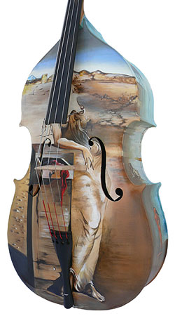 A bass painted in Dali style.