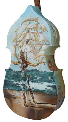 A double bass painted in Dali style.