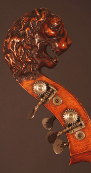 A double bass with a lion head.