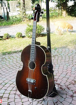 A double bass that looks like a guitar.