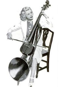 A double bass with a horn.
