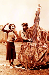 A kite in the form of a double bass.