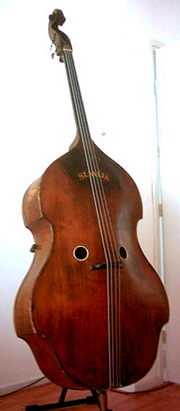 A double bass with two rather small holes.