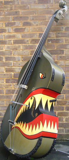 A double bass painted as if it were a shark.