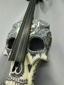 A double bass in the form of a skull.