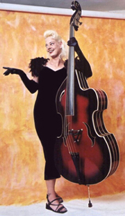 A double bass looking more or less like a guitar.