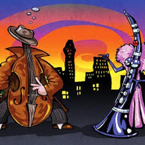 Een contrabas en een klarinet converseren.