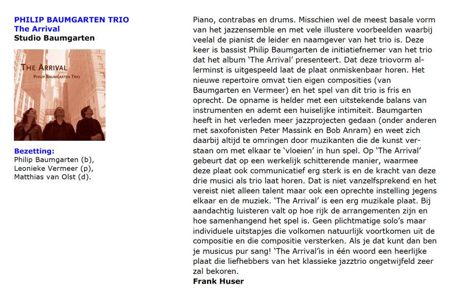 Het Philip Baumgarten Trio: een recensie in Jazzflits van de cd The Arrival