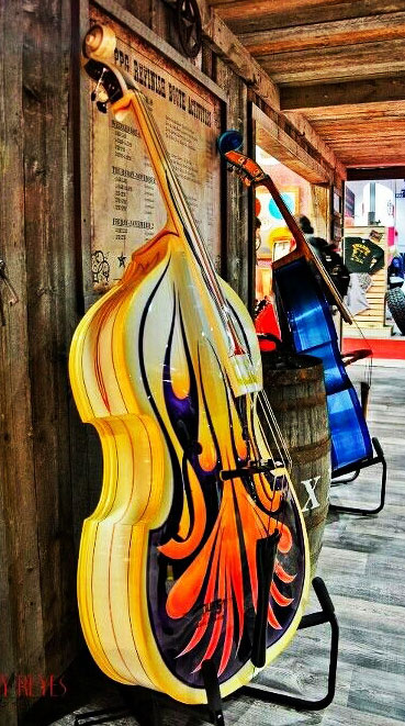 Double basses in many colours